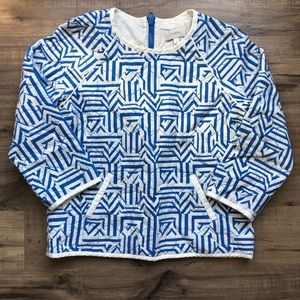 J.Crew Blue/White Quilted Blouse 4